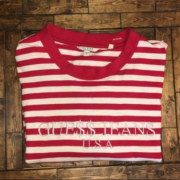 fantastisk pris stabil kvalitet 2018 sko Guess x asap rocky red stripe shirt